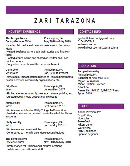 Zari's Resume – Zari Tarazona